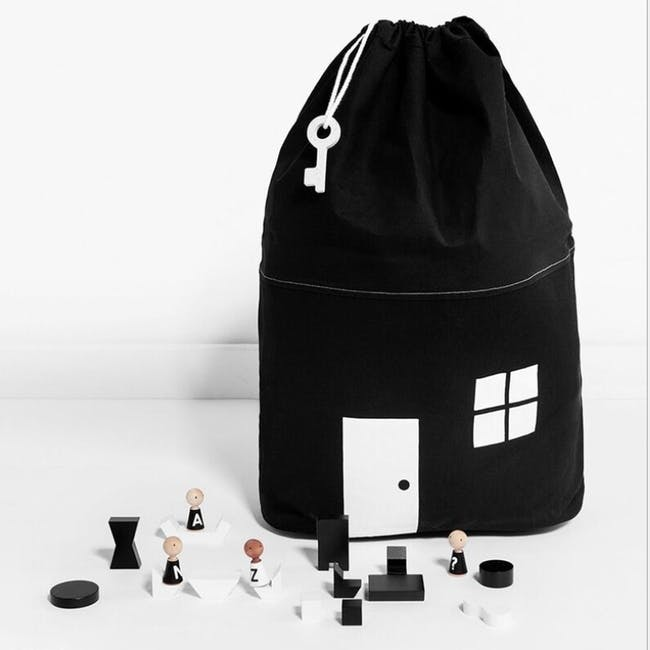 Little House Drawstring Storage Bag - Black - 2