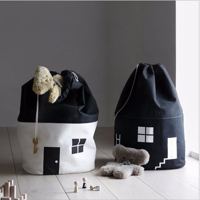 Little House Drawstring Storage Bag - Black - 3