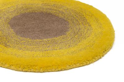 Yellow Fading Sun 100% New Zealand Wool Round Rug (ø 2.3m) - Image 2