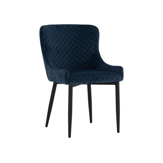 Tilda Round Dining Table 1.4m with 4 Tobias Dining Chairs in Navy - 4
