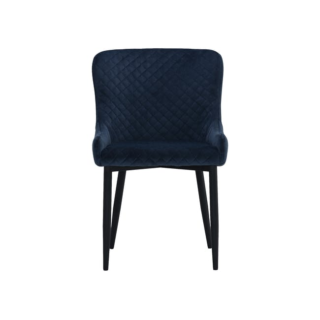 Tobias Dining Chair - Black, Navy (Velvet) - 1
