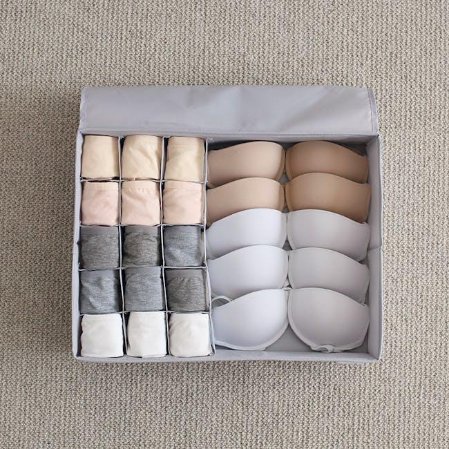 Hayley Wardrobe Storage Case 13 Compartments - Grey - 2