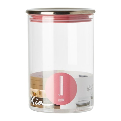 1L Glass Jar With Stainless Steel Cover - Pink