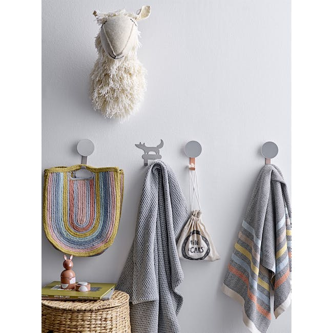 Laura Wall Mirror with Hook - Grey - 1