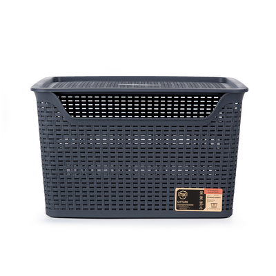 24L Weave Basket with Lid - Coal - Image 2