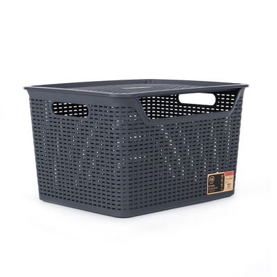 24L Weave Basket with Lid - Coal - Image 1