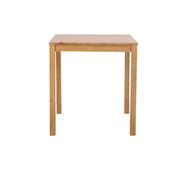 Rena Square Dining Table 0.7m with 2 Harold Dining Chairs in Natural, Dolphin Grey - 1