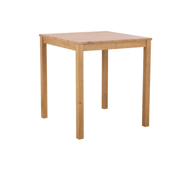 Rena Square Dining Table 0.7m with 2 Harold Dining Chairs in Natural, Dolphin Grey - 2