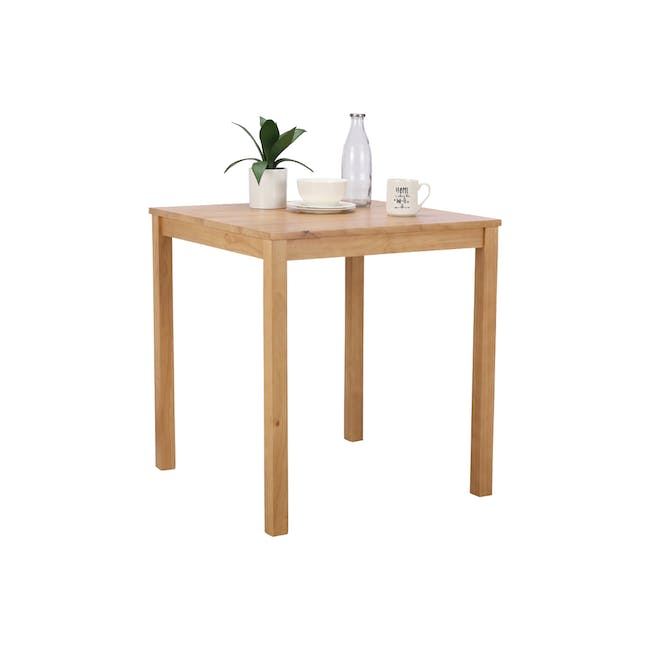 Rena Square Dining Table 0.7m with 2 Harold Dining Chairs in Natural, Dolphin Grey - 5