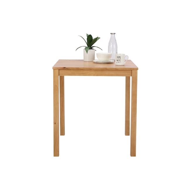Rena Square Dining Table 0.7m with 2 Harold Dining Chairs in Natural, Dolphin Grey - 7