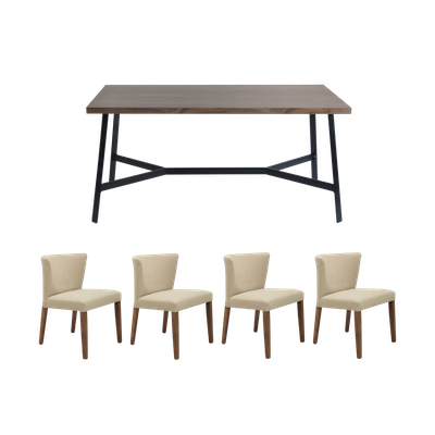 Brittany Dining Table 1.8m with 4 Rhoda Dining Chairs - Walnut - Image 1