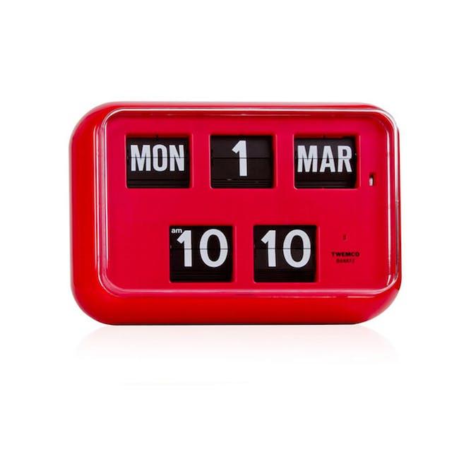 TWEMCO Big Calendar Flip Wall Clock - Red - 0