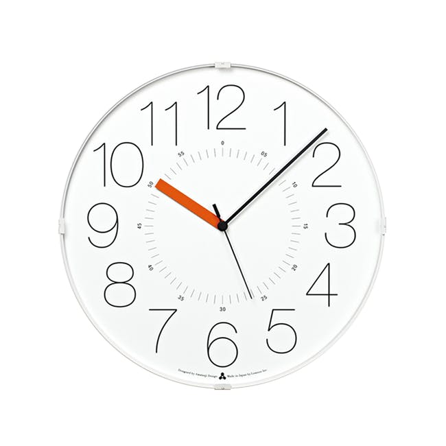 Cara Wall Clock - White, Orange - 0