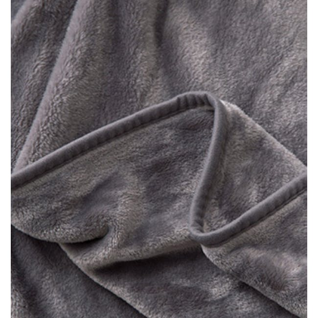 Marlow Velvet Plush Blanket - Dark Grey - 1
