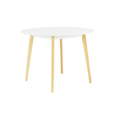 (As-is) Harold Round Dining Table - Natural, White - 4 - Image 1