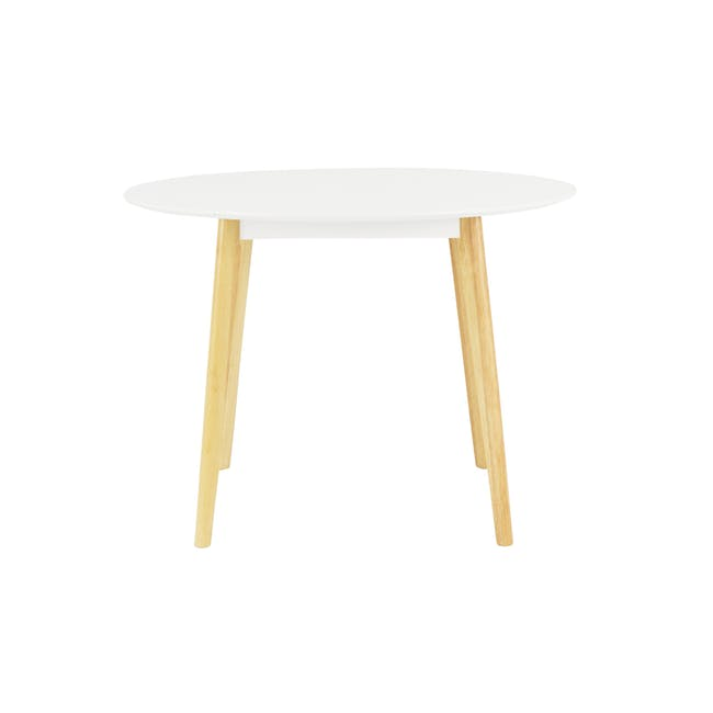 Harold Round Dining Table 1m in White with 4 Linnett Chairs in White - 2