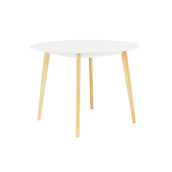 Harold Round Dining Table 1m in White with 4 Linnett Chairs in White - 3