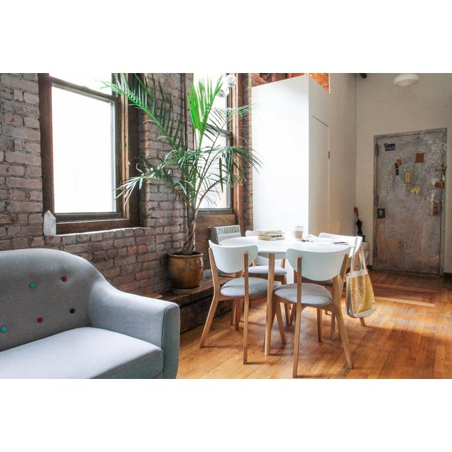 Harold Round Dining Table 1m in White with 4 Linnett Chairs in White - 6