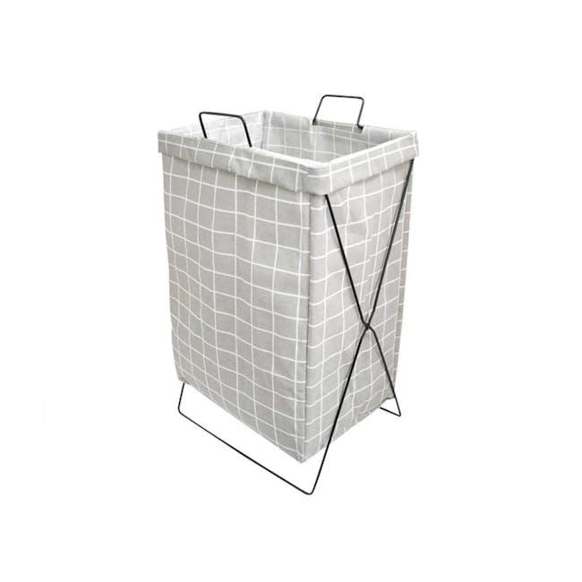 HOUZE Laundry Bag with Matt Steel Frame - Grey Checkered - 0