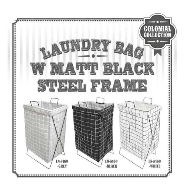HOUZE Laundry Bag with Matt Steel Frame - Grey Checkered - 3