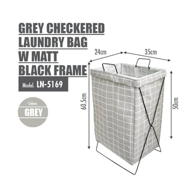 HOUZE Laundry Bag with Matt Steel Frame - Grey Checkered - 2