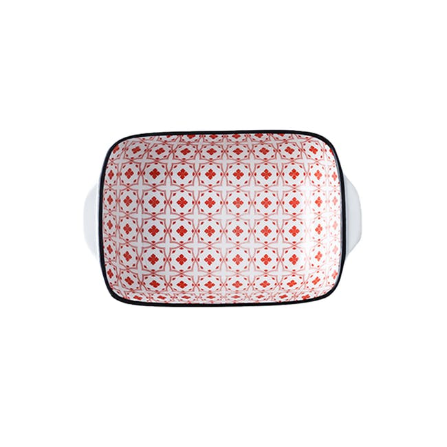 Table Matters Crisscross Red Baking Dish with Handles - 0