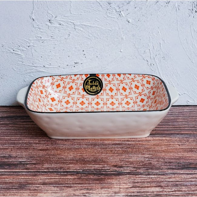 Table Matters Crisscross Red Baking Dish with Handles - 1