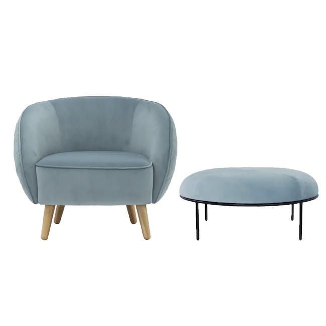 Braton Lounge Chair with Amos Round Ottoman - Jade (Velvet) - 0