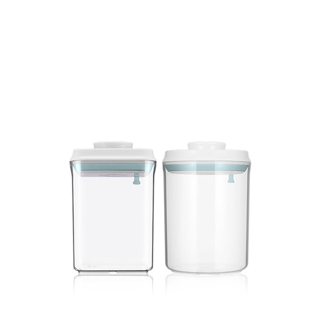 ANKOU 1.5L Round & 1.5L Square Air Tight Container 2Pc Set - 0
