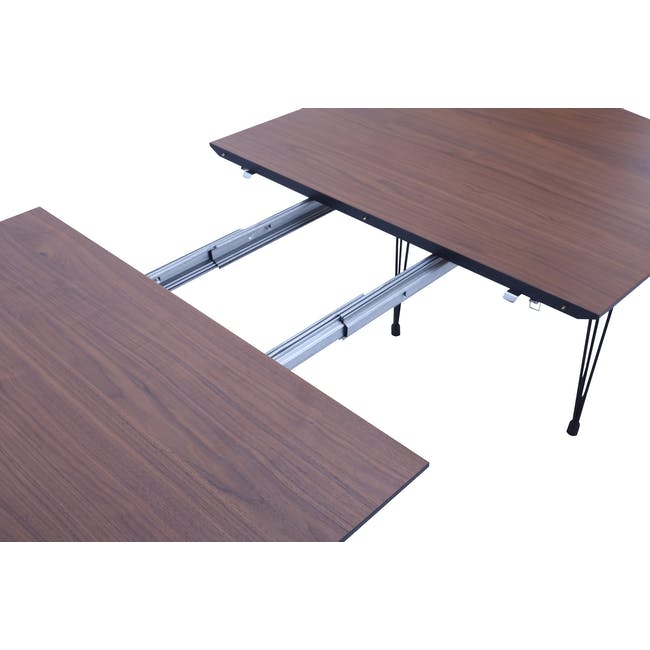 Rikku Extendable Oval Dining Table 1.7m - Walnut, Black - 3