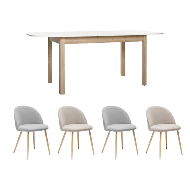 Irma Extendable Table 1.6m with 4 Chloe Dining Chairs in Wheat Beige and Pale Grey - 0