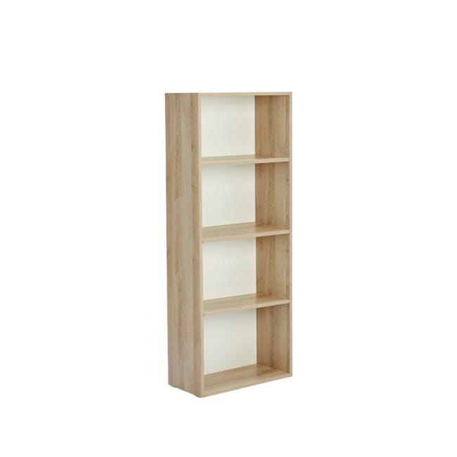 Hitoshi 4-Tier Bookshelf - Natural, White - 1