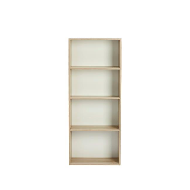 Hitoshi 4-Tier Bookshelf - Natural, White - 0