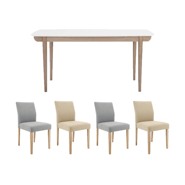 Larisa Dining Table 1.6m with 4 Ladee Chairs in Sand and Pale Silver - 0