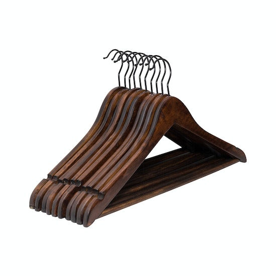 Wooden Hangers Set Of 10 Walnut