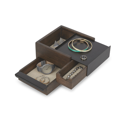 Mini Stowit Storage Box - Black, Walnut - Image 2