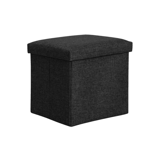 Domo Foldable Storage Cube Ottoman - Black - 0