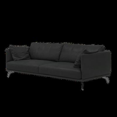 Como 3 Seater Sofa - Black (Genuine Cowhide) - Image 2