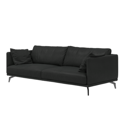 Como 3 Seater Sofa - Black (Genuine Cowhide) - Image 2