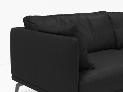 Como 3 Seater Sofa - Black (Genuine Cowhide), Down Feathers - Image 2