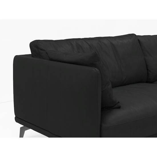 SourceByNet - Como 3 Seater Sofa - Black (Genuine Cowhide), Down Feathers