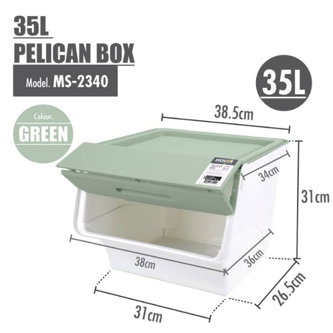 35L Pelican Box with Lid - Green - 6