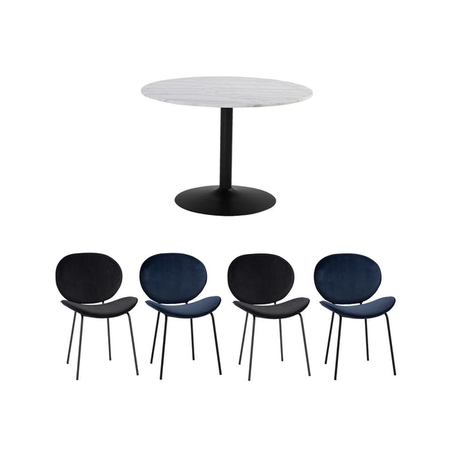 Marmor Marble Dining Table 1.1m in White with 4 Ormer Dining Chairs - 0