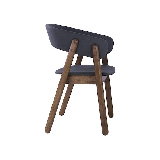 HipVan Bundles - 4 Venice Dining Chairs with Cushioned Backrest in Walnut, Dark Grey