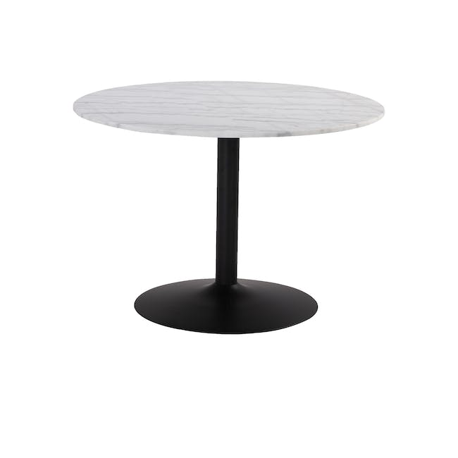 Marmor Marble Dining Table 1.1m in White with 4 Ormer Dining Chairs - 1