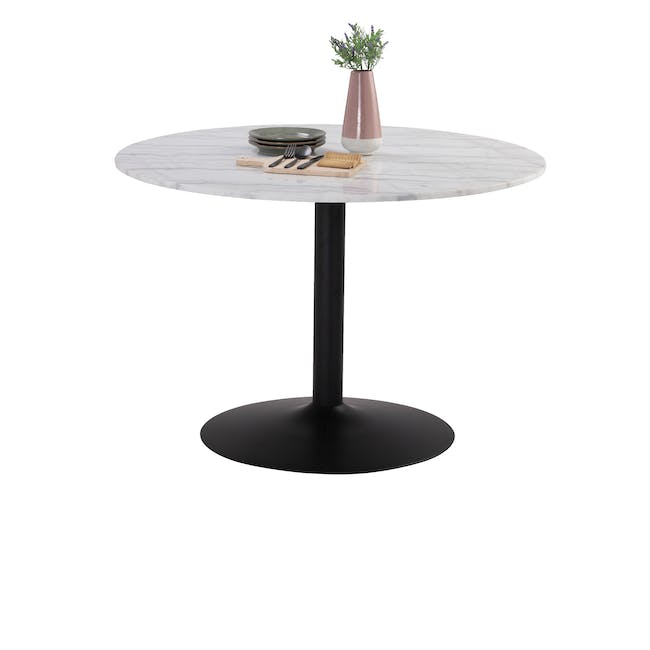 Marmor Marble Dining Table 1.1m in White with 4 Ormer Dining Chairs - 2