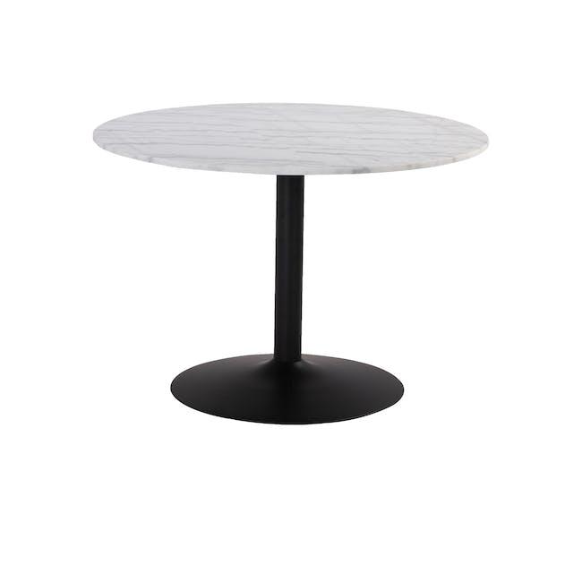 Marmor Marble Round Dining Table 1.1m - Matt Black, White - 0