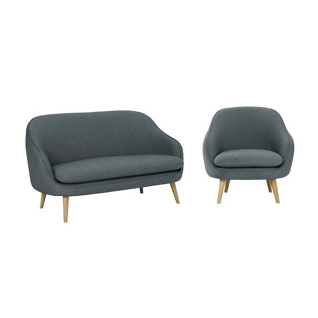 Quinn 2 Seater Sofa with Quinn Armchair - Marble Blue - 0