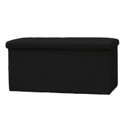 Domo Foldable Storage Bench Ottoman (Set of 2) - Black - Image 1