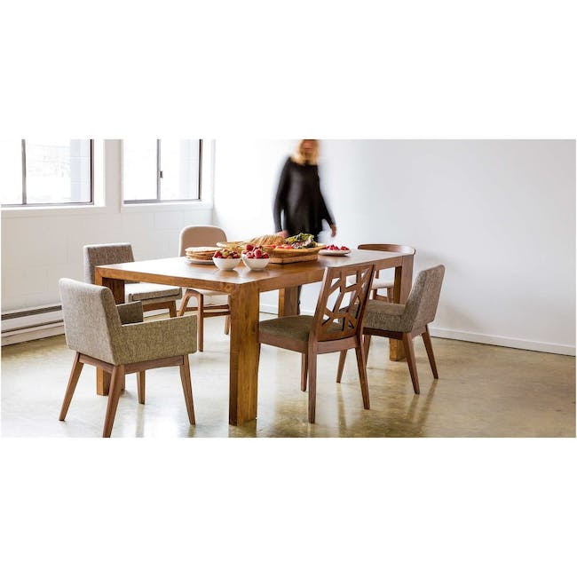 Clarkson Dining Table 2.2m in Cocoa with 4 Fabian Chairs in Cocoa, Dolphin Grey - 1